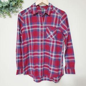 Eddie Bauer Button Down Flannel Shirt Red Blue Sm